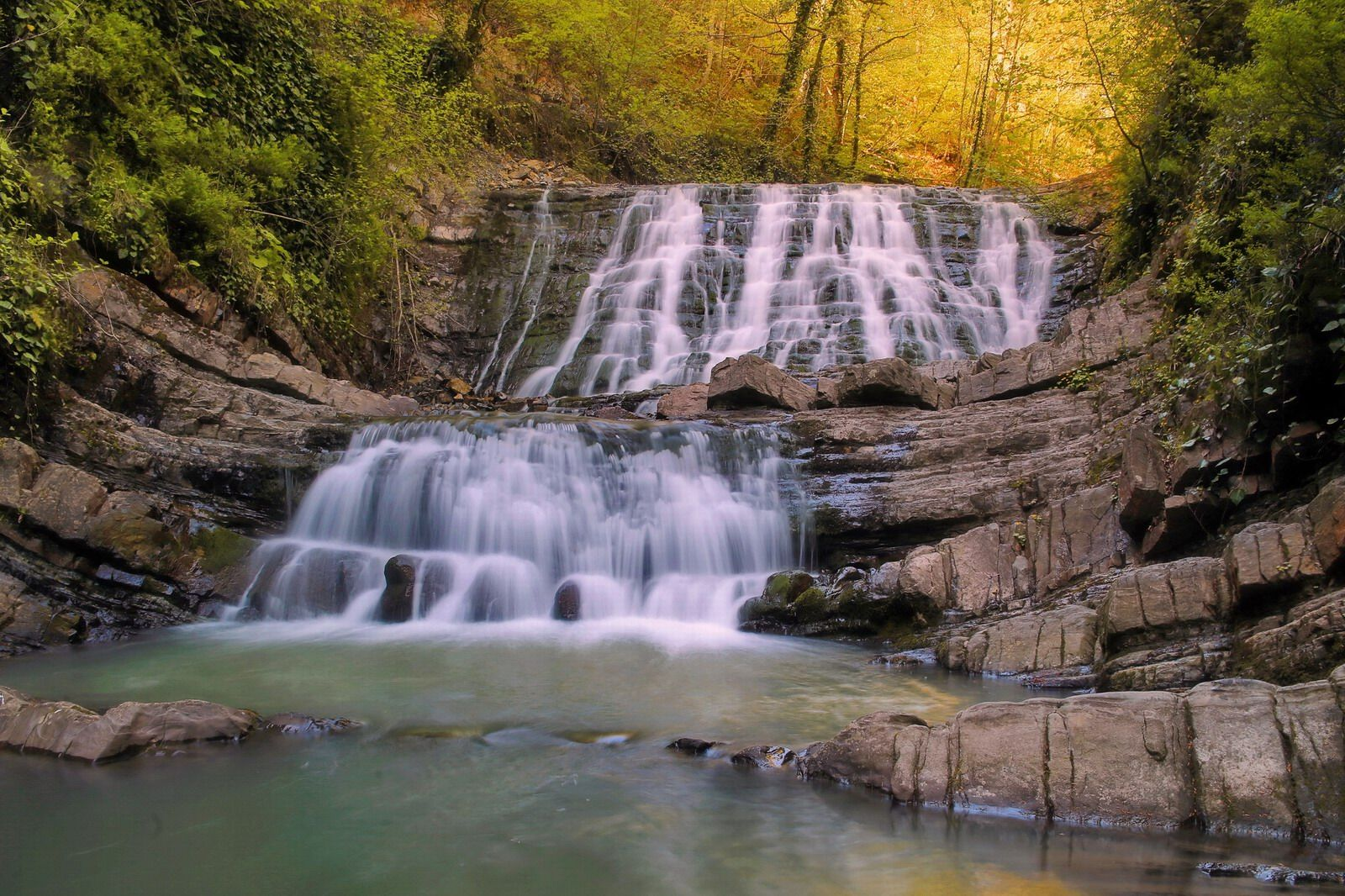 Russia Kemerovo Map%0A Picturesque forest waterfall near Sochi  Russia