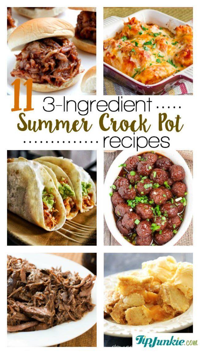 11 3 Ingredient Summer Crockpot Recipes Summer Crockpot Recipes Best Crockpot Recipes Crockpot Recipes