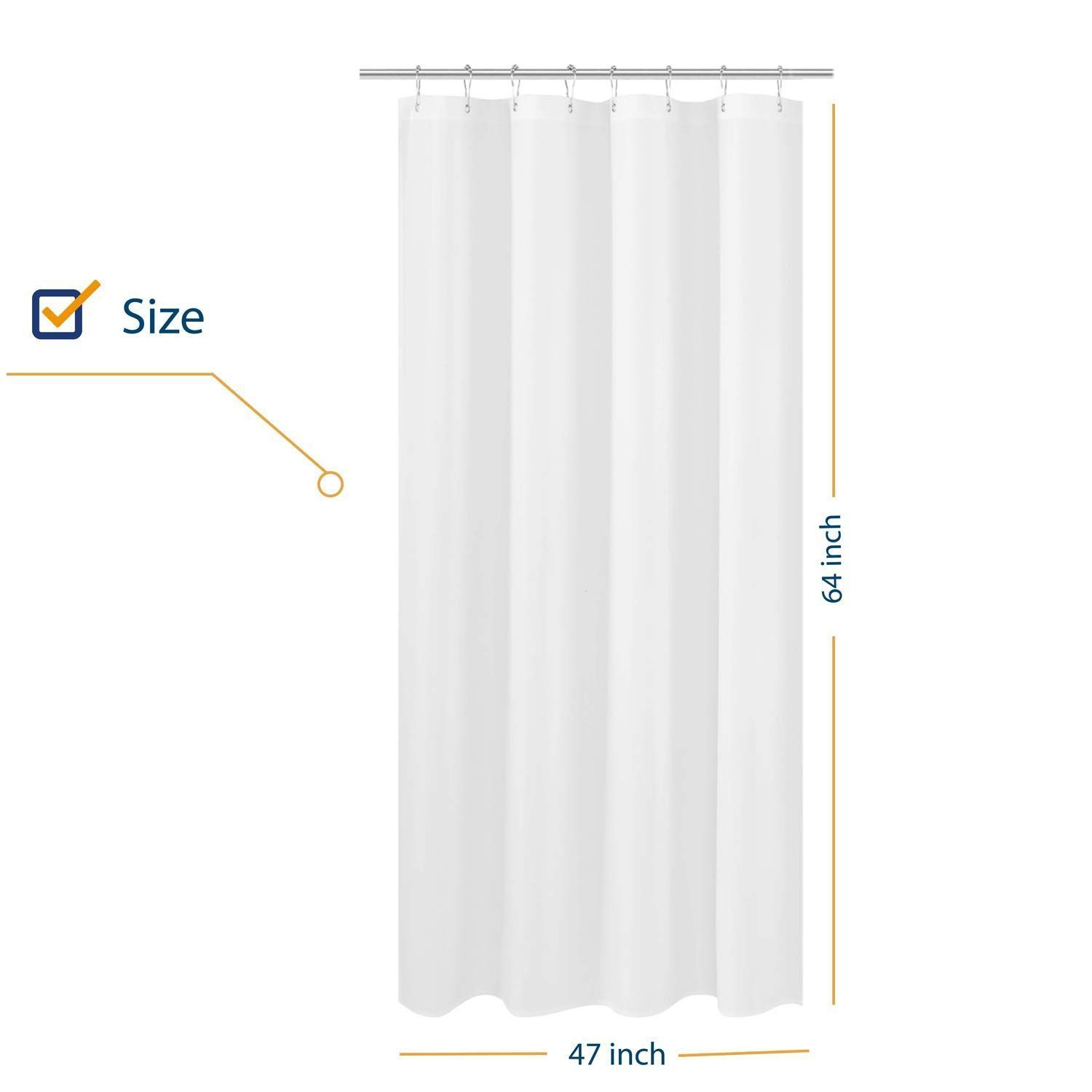 N Y Home Rv Shower Curtain Liner Fabric 47 X 64 Inches Hotel
