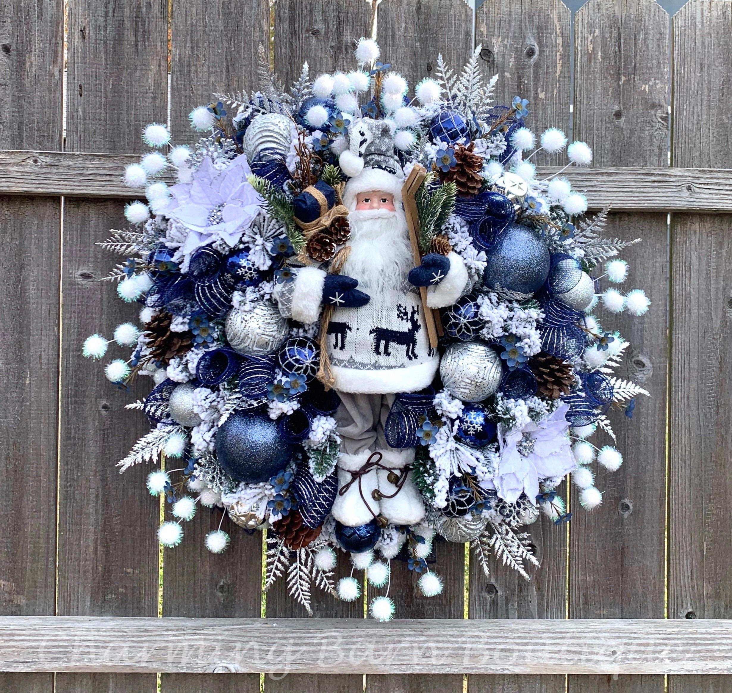 This Gorgeous Santa Is Now Listed And Ready To Welcome Your Guests This Holiday Season Christmas Wreath Christmas Wreaths Winter Wreath Christmas Wreath Bows