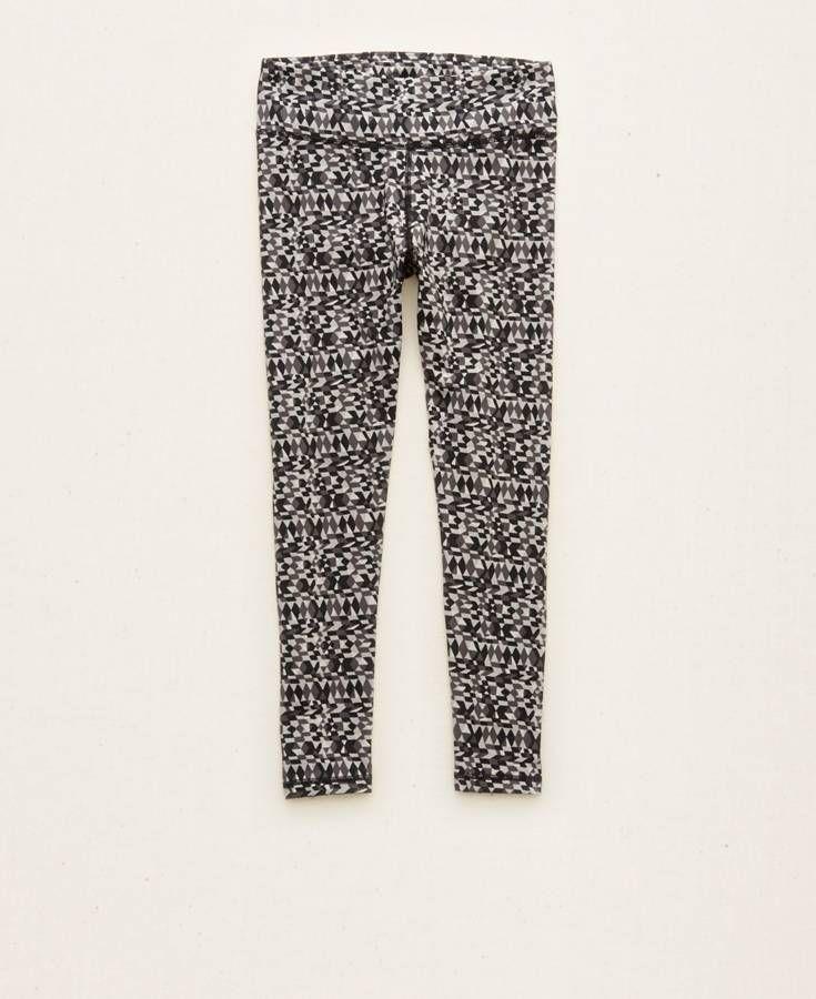 Aerie Sport-Ish Crop Yoga Pants, Women's, True Black
