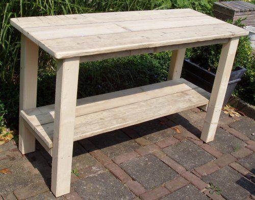 Oppottafel bouwtekening bouwmaterialen for Tuintafel steigerhout bouwpakket