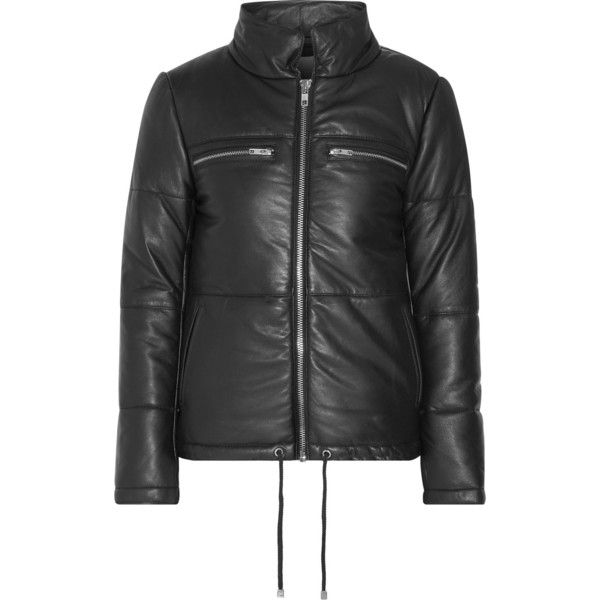 W118 by Walter Baker Natalie leather biker jacket (54,585 INR) ❤ liked on Polyvore featuring outerwear, jackets, leather biker jacket, leather zip jacket, zip jacket, leather motorcycle jacket and drawstring jacket