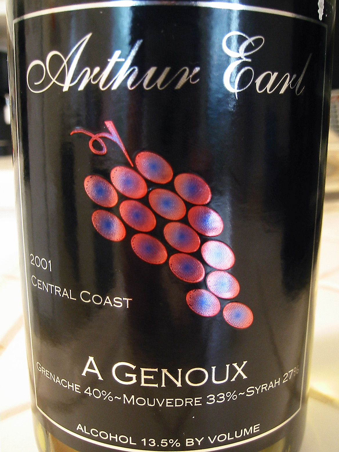 2001 Arthur Earl Central Coast A Genoux Santa Barbara County Wine Recipes Alcohol