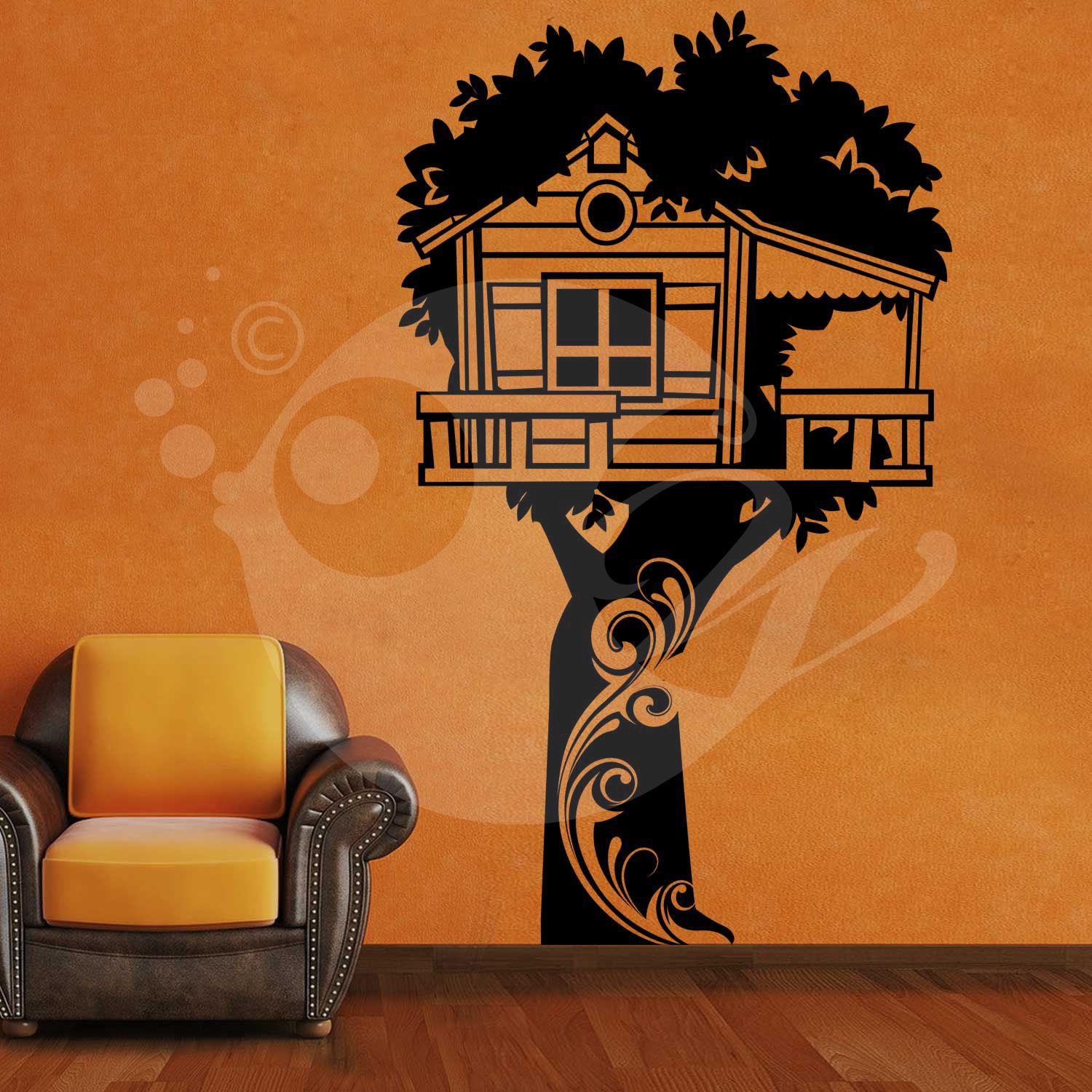 With this Tree Hut Wall Sticker Decal you can decorate ...