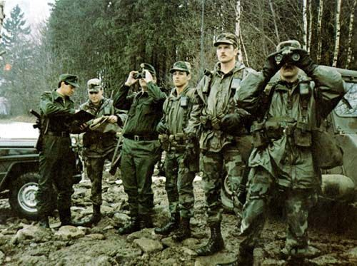 American and West German troops observe Soviet units