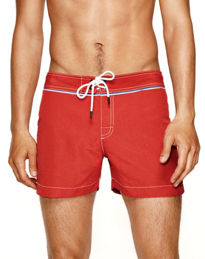 3d93643753 RED! i like it on cars, on tight trunks, too. | Men's Swimsuits for Every  Body Type: Wear It Now: GQ