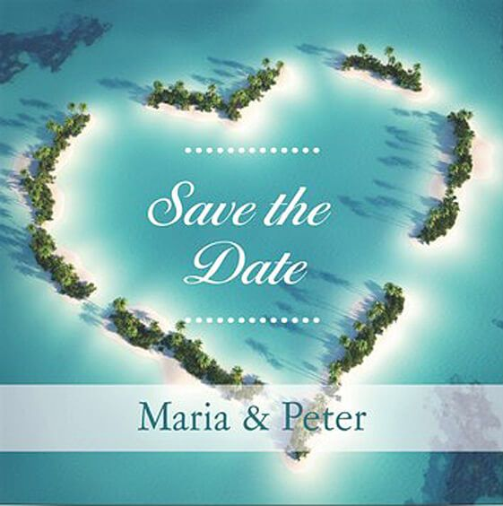 Ideale Save The Date Karte Bei Einer Strandhochzeit Je Nach Reiseziel Passt Sie Auch Grossartig