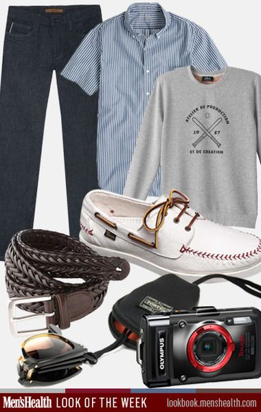 Your baseball-inspired look for the spring. Collared shirt: J.CrewSweatshirt: A.P.C.Jeans: Joes JeansShoes: Allen EdmondsBelt: ChapsSunglasses: Oliver Peoples for PorterCamera: Olympus