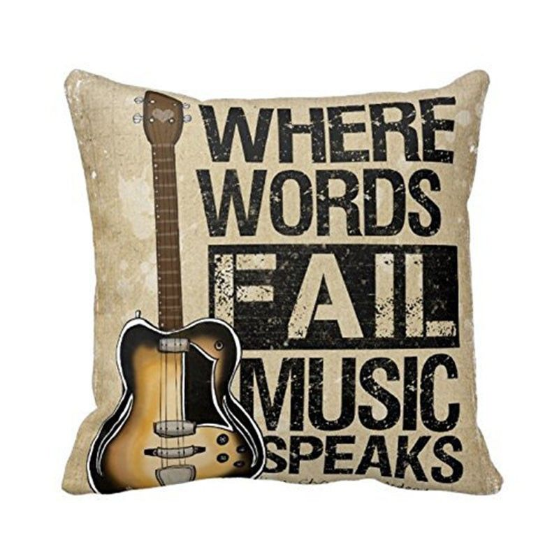 Vintage Guitar Throw Pillow Case Cotton Linen Chair Waist and Seat Cushion Cover
