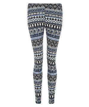 72a0f5444ceeab Blue Pattern (Blue) Blue Snowflake Aztec Print Leggings | 297331949 | New  Look