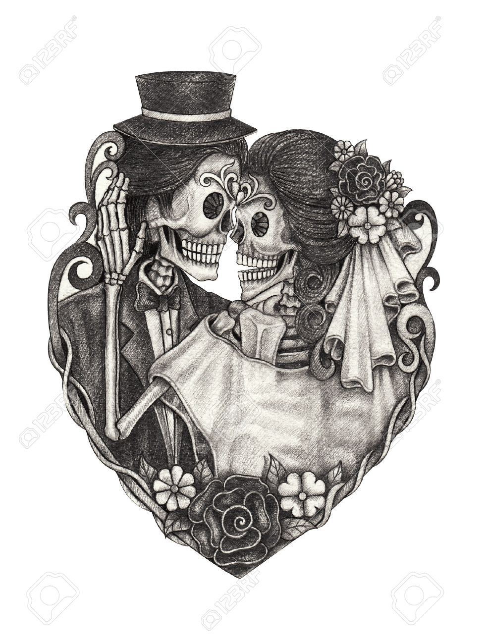 03c13f0c1 Skull wedding day of the dead hand pencil drawing on paper. #tattoo