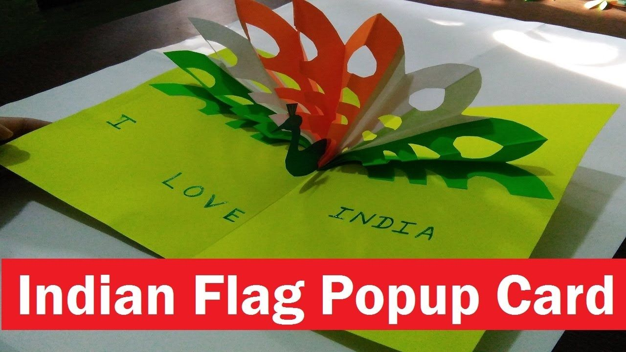 Popup Card Making Ideas Part - 49: (Tricolour)Indian Flag Popup Card | How To | Greeting Card Making Idea
