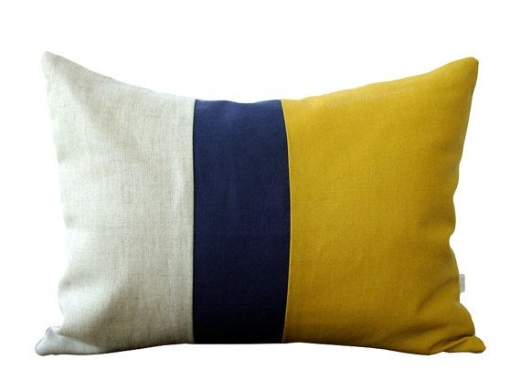 Mustard Color Block Decorative Pillow With Navy And