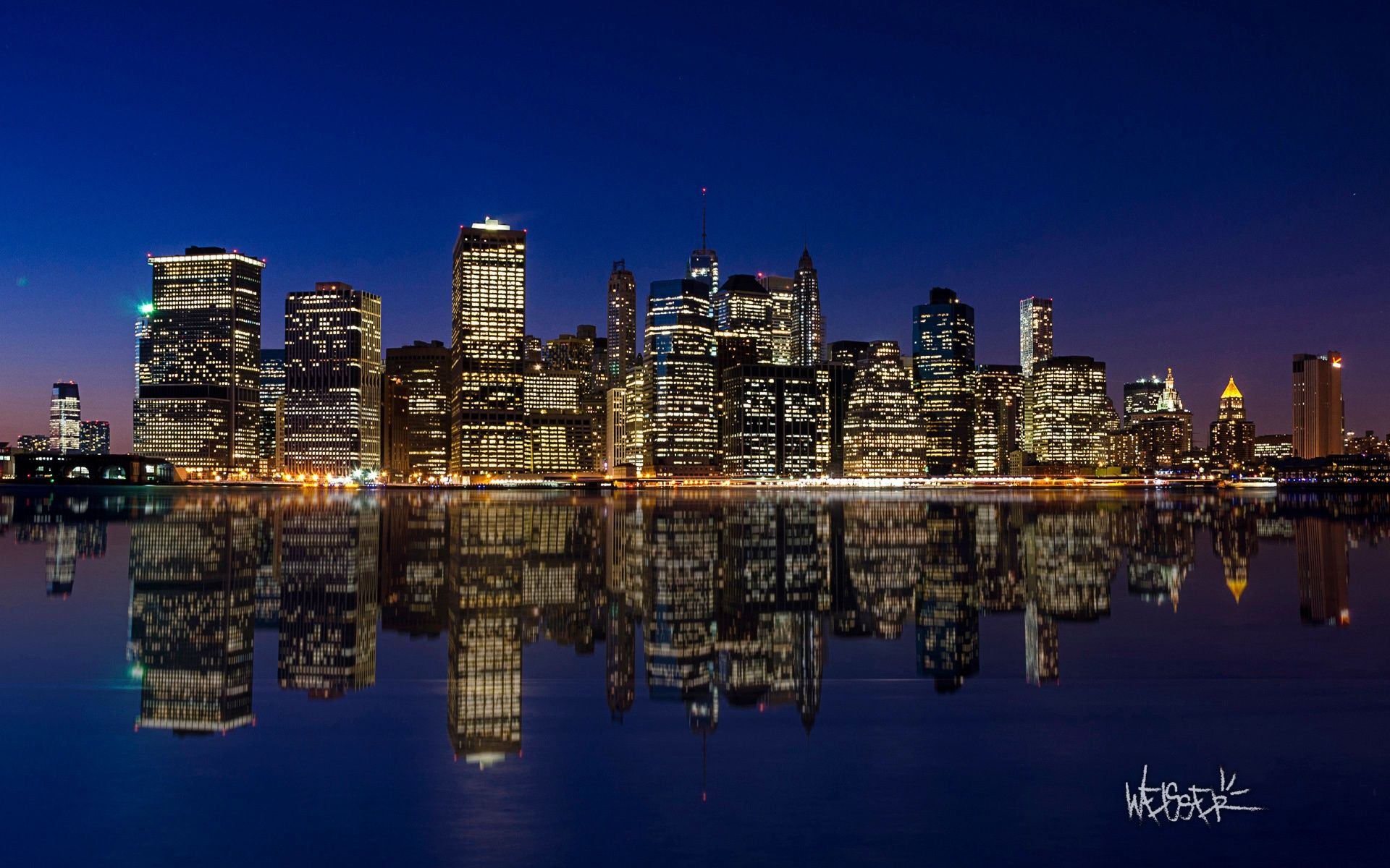 Manhattan Night Skyline Hd Desktop Wallpaper Wallpapersme