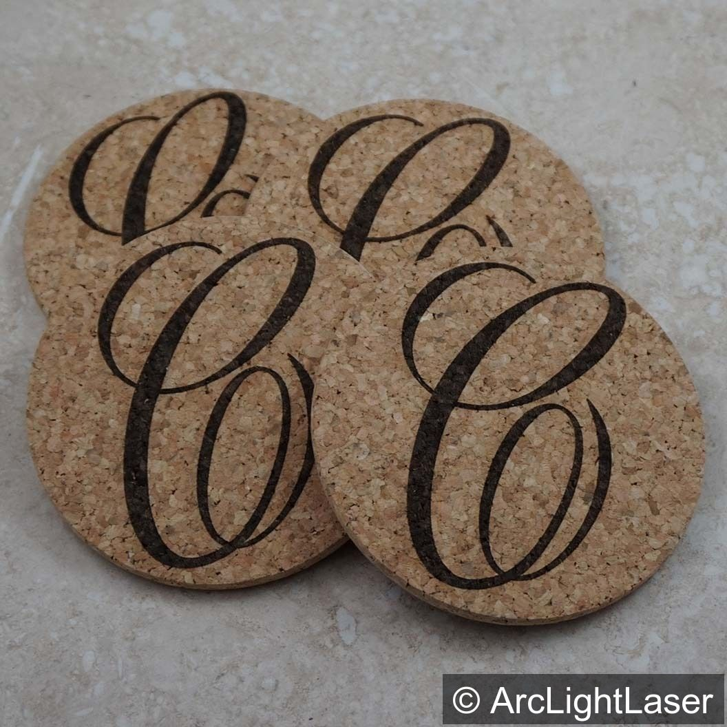 Custom Monogrammed Set Of Round Cork Coasters Each Engraved With A