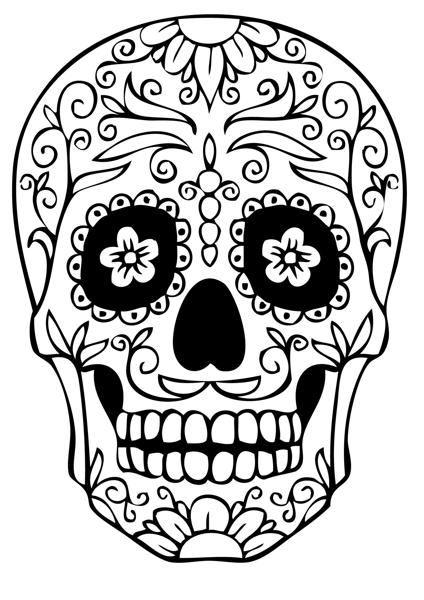 Skull Coloring Pages For Developing Knowledge In Human Physiology Skull Coloring Pages Sugar Skull Drawing Skull Template