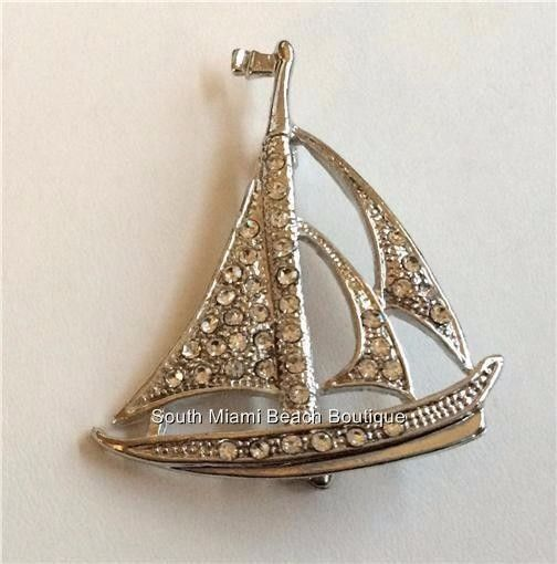 Silver Plated Crystal Sailboat Pin Brooch Crystals Nautical Sails Sea USA  Seller #SouthMiamiBeachBoutique