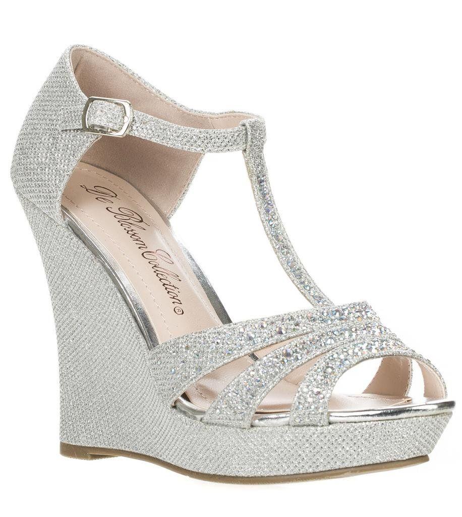 Deblossom Womens Dressy Glitter Rhinestone T Strap Platform Wedge Sandal Aalle 2 Silver 7 5