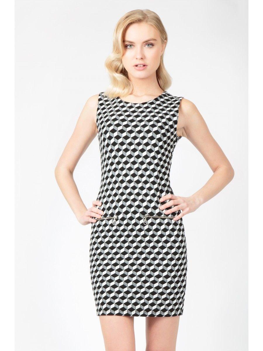 Cube check mini zip shift dress trends us dress us