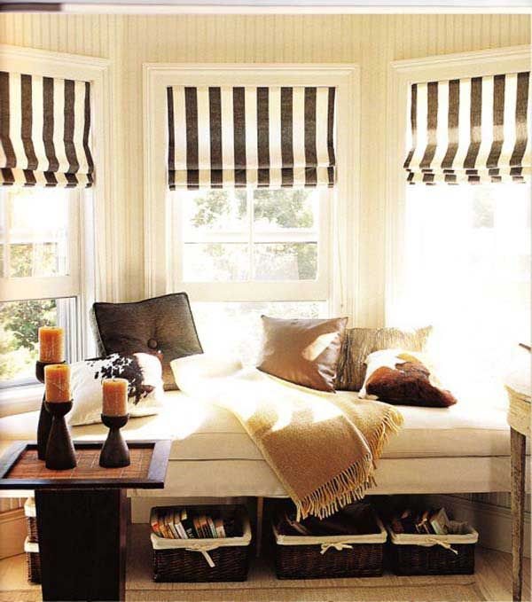Striped Roman Shades For Bay Windows