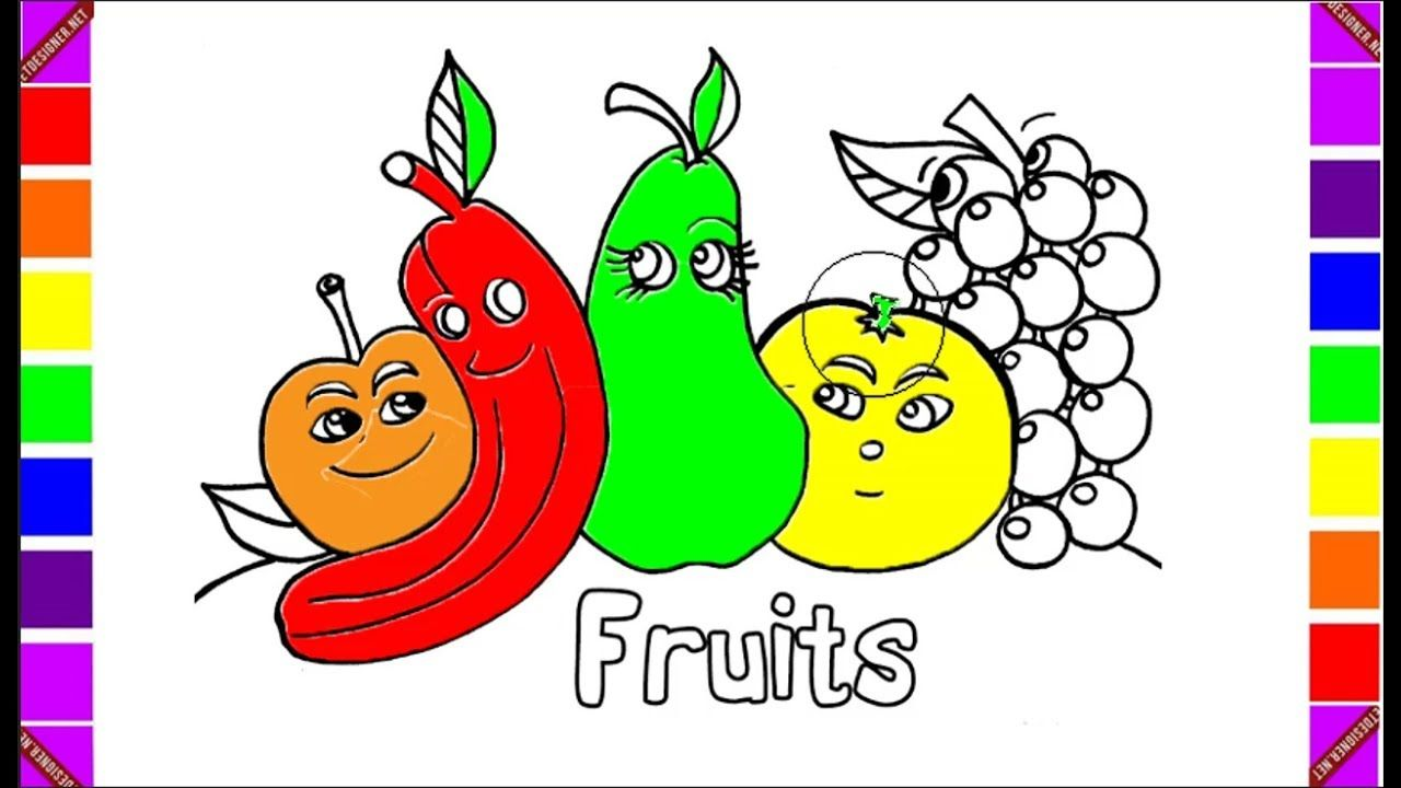 How to Draw Fruits, Banana, Orange, Apple, Grapes, Coloring Pages ...