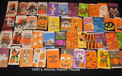 1950s Atomic Ranch House Vintage Mid Century Halloween Trick Or Treat Bags