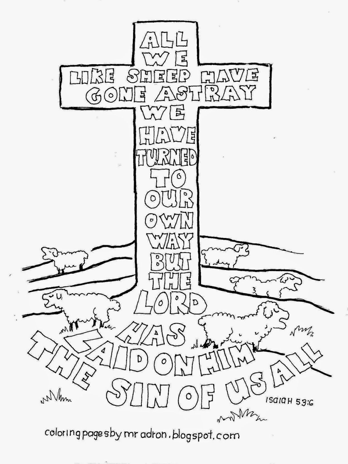 H words coloring pages - Bible Colouring Page For Kids Isaiah 53 6 Scripture Doodles Where You Have To