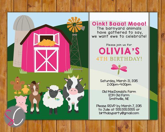 Farm Animals Birthday Party Invite Cow Pig Horse Barnyard Hot Pink Barn Girls 2nd 3rd 4th Toddler 5