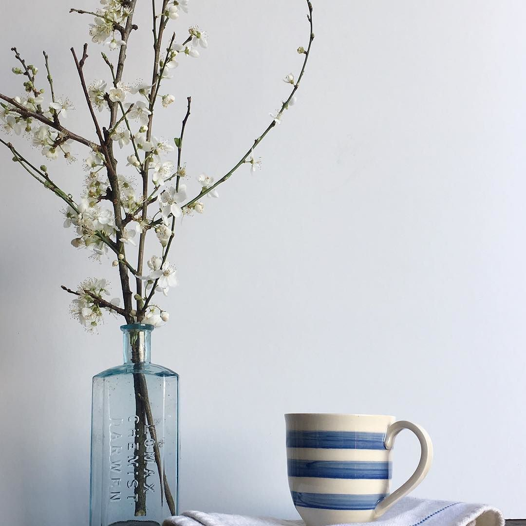 Look what I found on route to Laugharne Dylan Thomas territory some blackthorn. blossom. The flowers are so delicate and confetti like disappearing in my hands as I pick them. The mug is a replica of the Mug in Dylan Thomas writing shed Laugharne a gift from the lovely  @janiceissitt_life_style following here recent stay @thewelshhouse