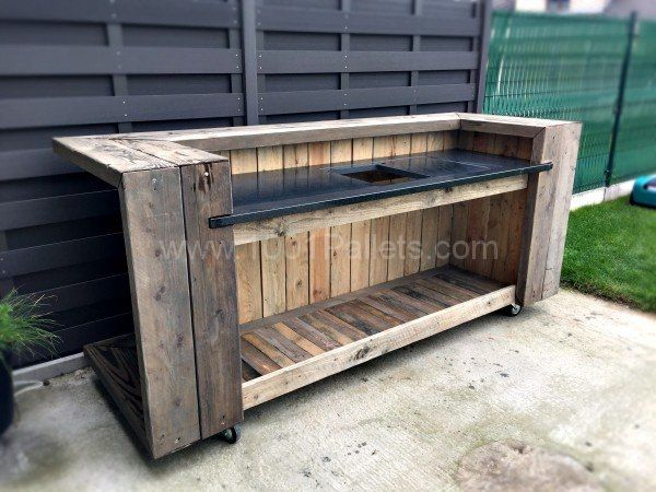 pallet outdoor kitchen bar pallets diy pinterest outdoor k che outdoor und europalette. Black Bedroom Furniture Sets. Home Design Ideas