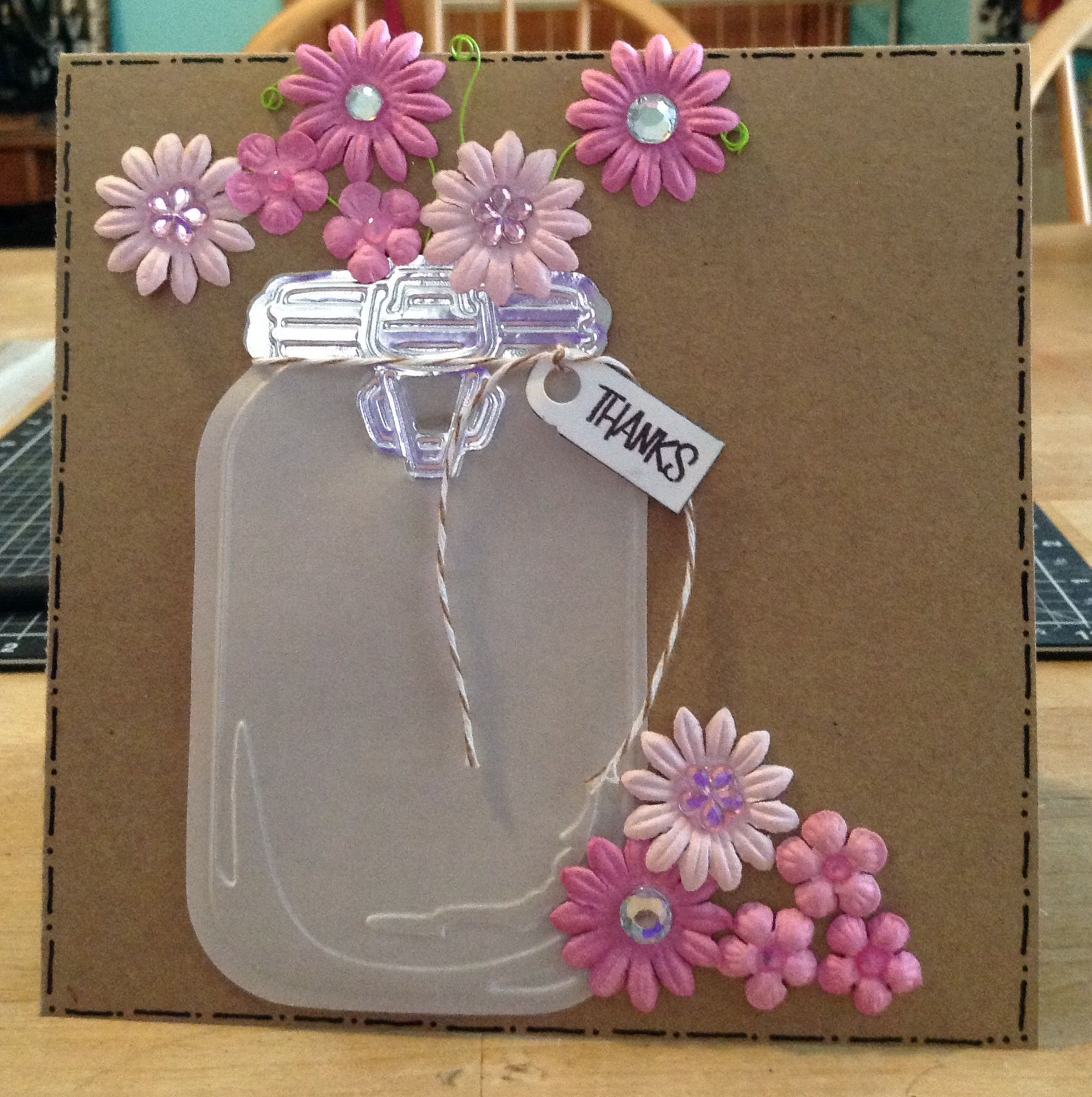 card with the sizzix mason jar die and embossing folder