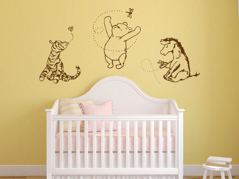Classic Winnie the Pooh, Tigger, and Eeyore graphics vinyl wall ...