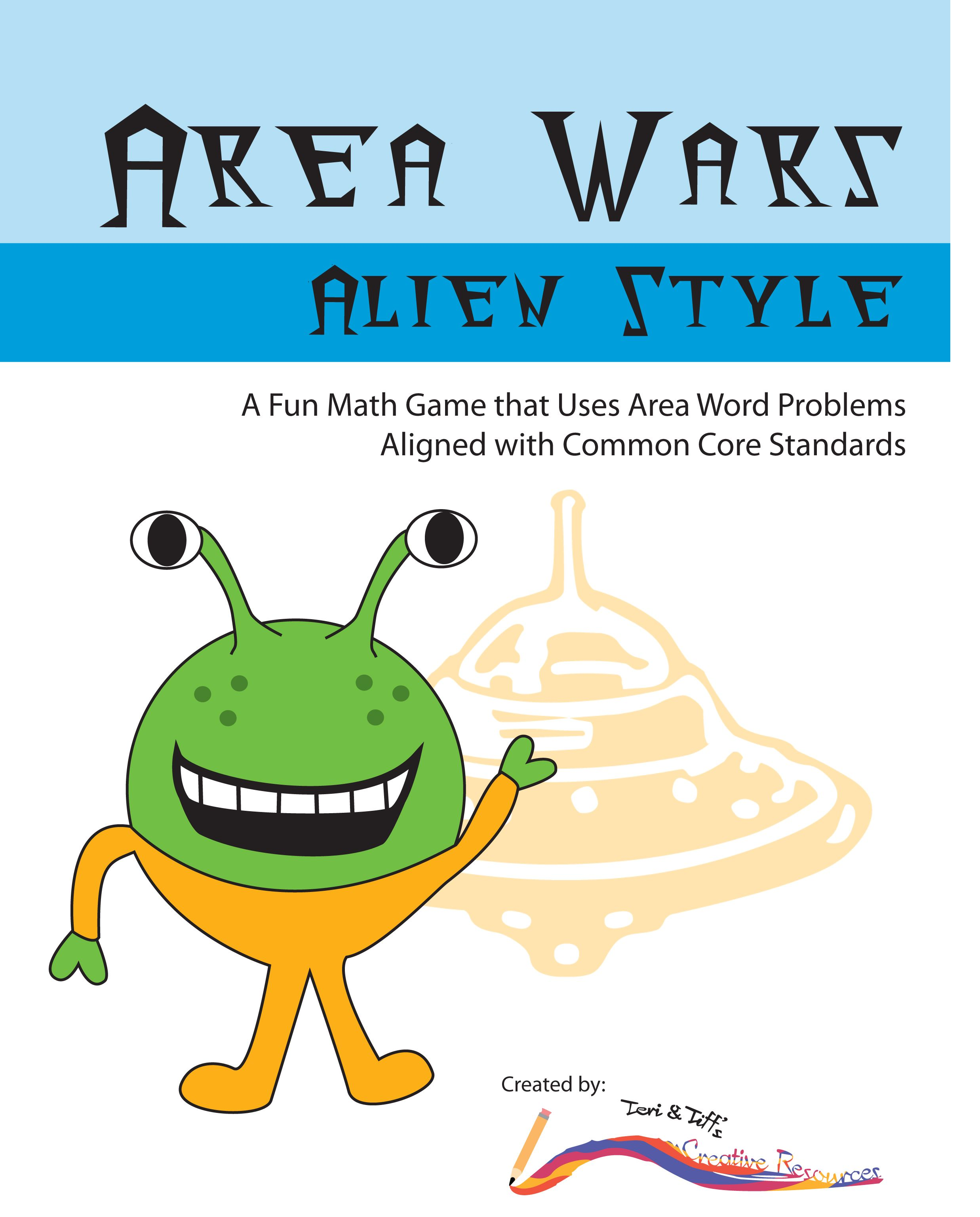 Area Word Problems Area War Math Game Common Core