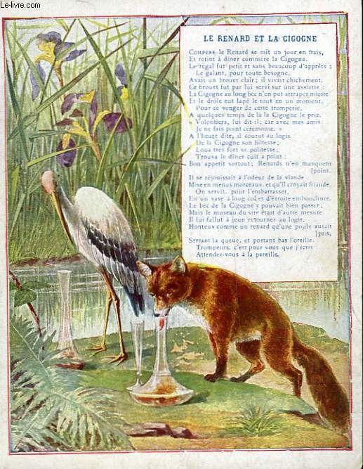 Le renard et la cigogne fable de jean de la fontaine - Dessin le renard et la cigogne ...