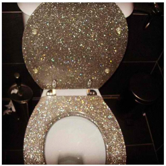 gold glitter toilet seat. Glitter toilet not sure how my husband would feel about this  My