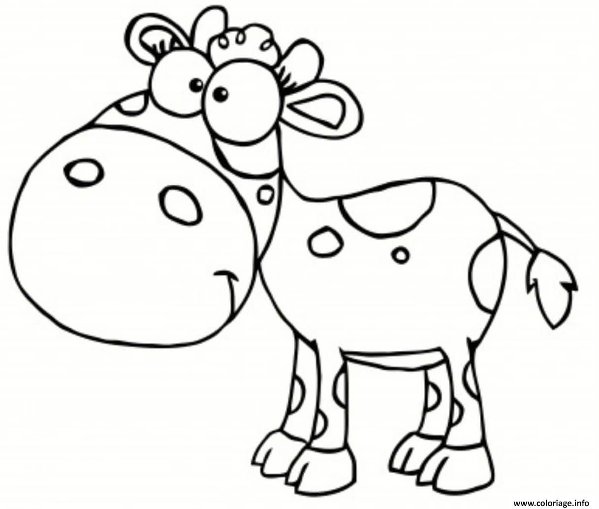 Coloriage vache animaux de la ferme rigolo Dessin à ...