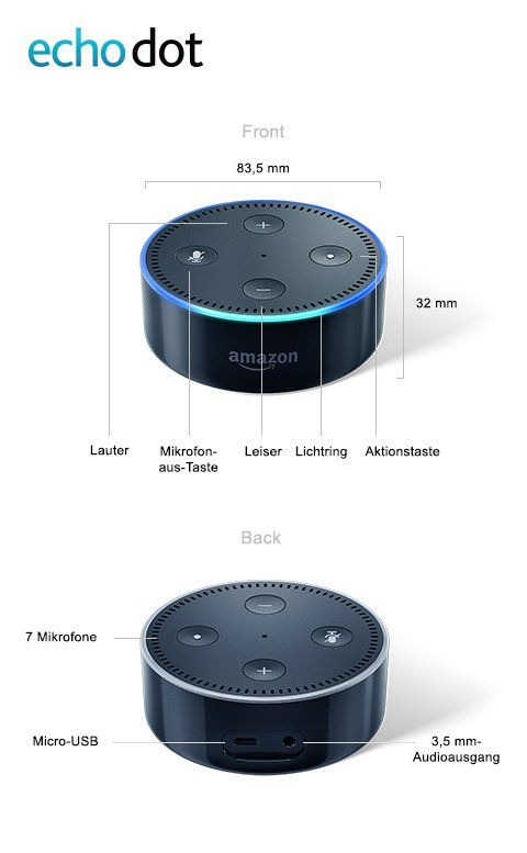Amazon Echo Dot Microfon Aus Taste 7 Mikrofone Aktionstaste Lichtring Mit Bildern Amazon Echo Mikrofon