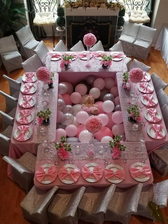 Pink Balloon Dinner Setting Baby Shower Decorations For Boys