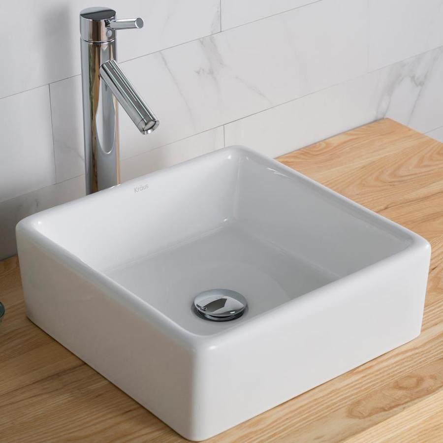 Kraus Elavo White Ceramic Vessel Square Bathroom Sink 15 2 In X 15 2 In Lowes Com In 2020 Square Bathroom Sink Bathroom Design Modern Master Bathroom