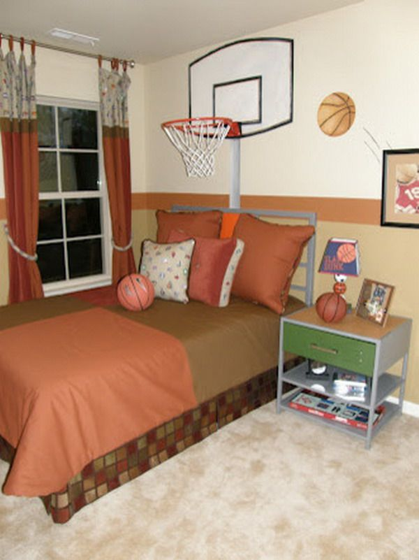 Custom kids bedroom with basketball theme painting kid 39 s for Themed bedrooms for boys