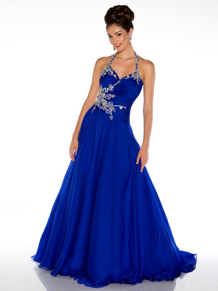 Halter handmade beaded royal blue 2013 long prom dresses for Long blue dress for wedding