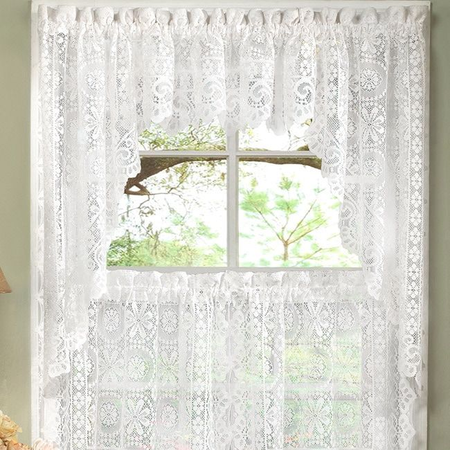 White Lace Luxurious Old World-style Kitchen Curtains Tiers ...