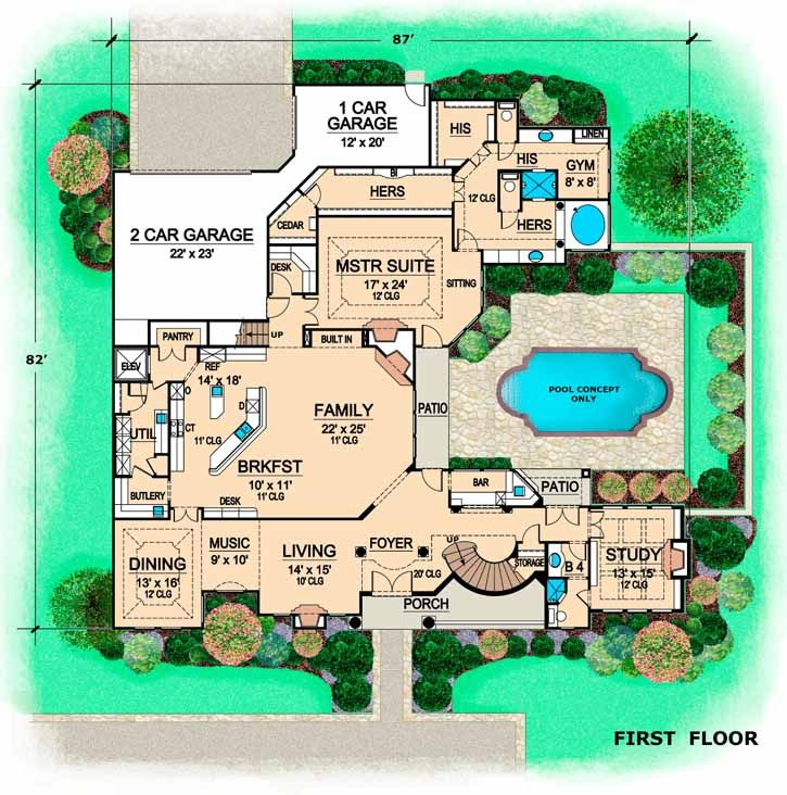 Florida Style House Plans   5358 Square Foot Home  2 Story  3 Bedroom and. Florida Style House Plans   5358 Square Foot Home  2 Story  3