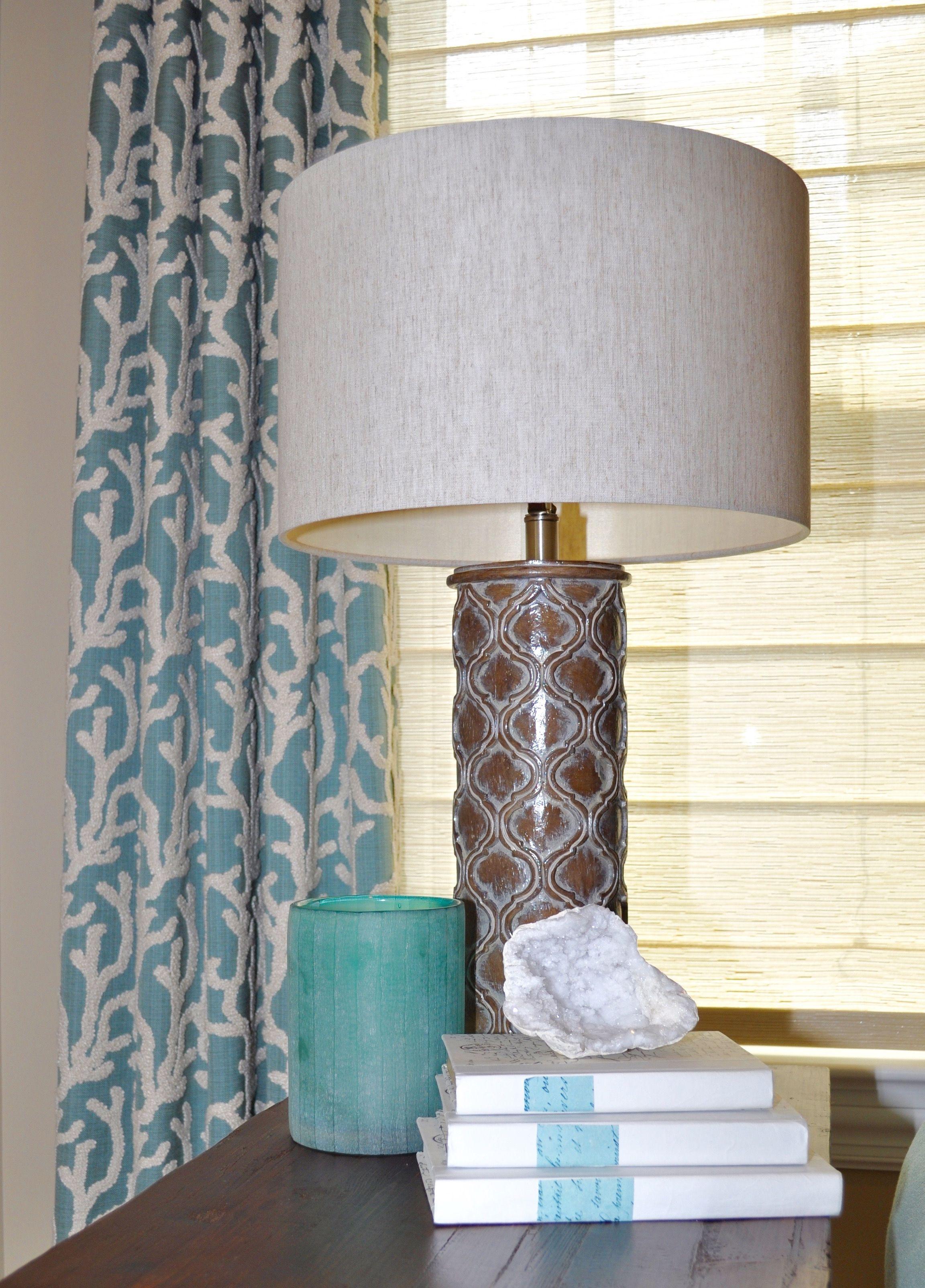 Coastal Interior Design, Coral Window Treatments, Shades Of Blue, Accessories,