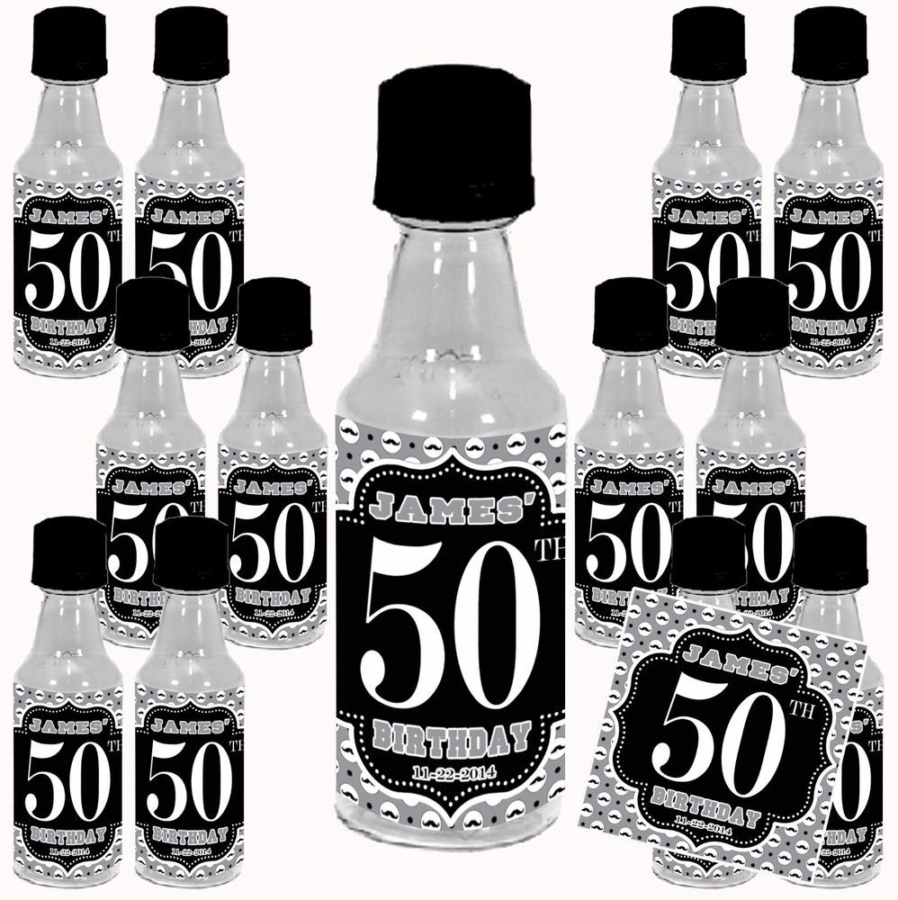 Birthday Men BW Mini Liquor Bottle Label Stickers + Bottle option ...