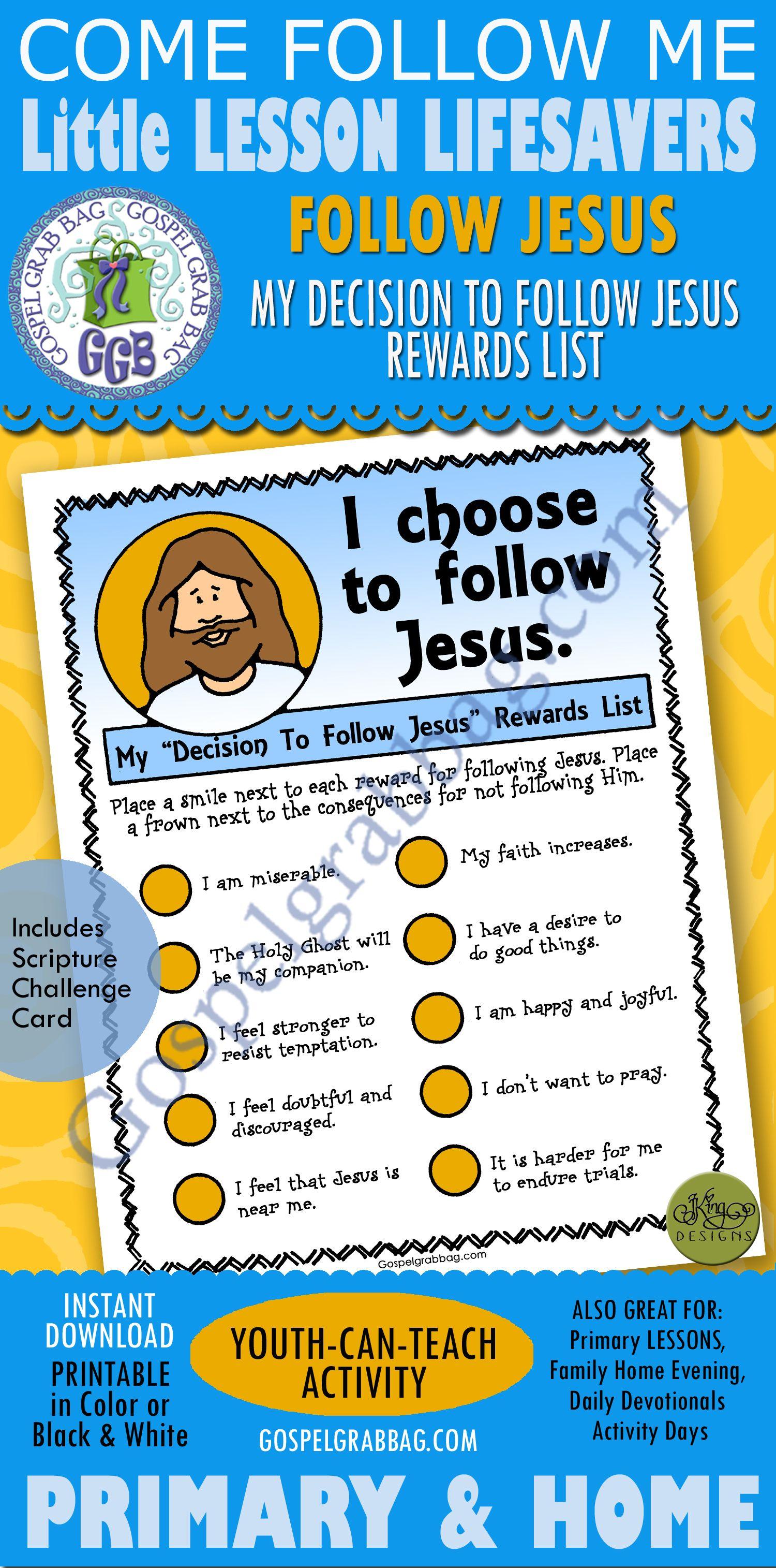 I Choose To Follow Jesus Reward List
