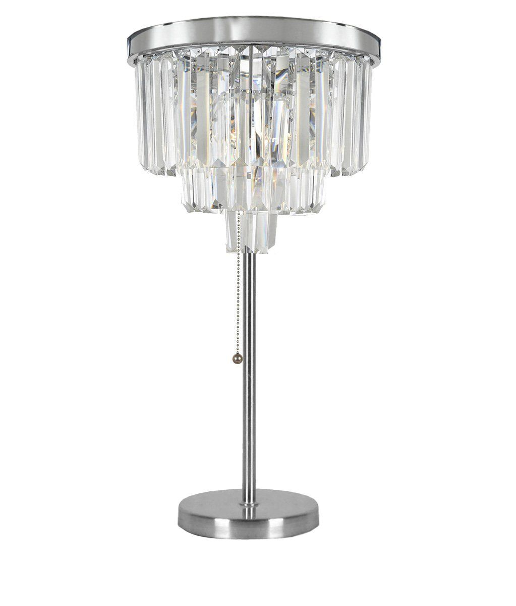 Odeon Empress Crystal Tm Glass Fringe 3 Tier Table Lamp Lighting H 32 W14 Lightfixtures Lighting Decor Lights R Buffet Table Lamps Lamp Chrome Lamp