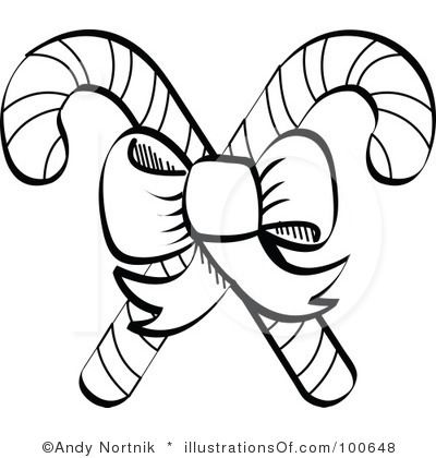Candy Cane That Are Black And White  Candy Cane Clipart Black And