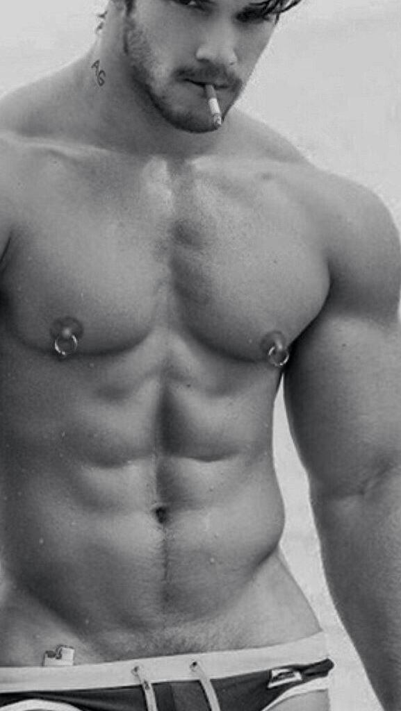Sexy nipple pierced model men — 10